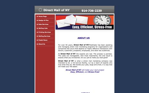 Screenshot of About Page directmailofny.com - Direct Mail NY About Us - captured Sept. 30, 2014