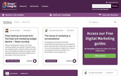 Screenshot of Blog smartinsights.com - Marketing Strategy Blog > Smart Insights Digital Marketing - captured Oct. 20, 2019