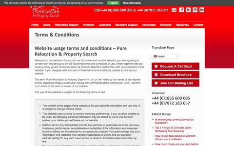 Screenshot of Terms Page purerelocation.co.uk - Terms & Conditions - captured Oct. 3, 2014