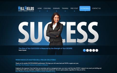 Screenshot of Testimonials Page billfields.com - Bill Fields - Testimonials - captured Nov. 3, 2014