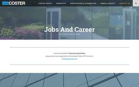 Screenshot of Jobs Page coster.com - Jobs and Career   Coster Group - captured Oct. 19, 2018