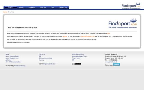 Screenshot of Trial Page findaport.com - Free Trial - captured March 12, 2016
