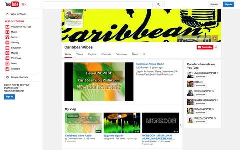 Screenshot of YouTube Page youtube.com - CaribbeanVibes  - YouTube - captured Oct. 22, 2014