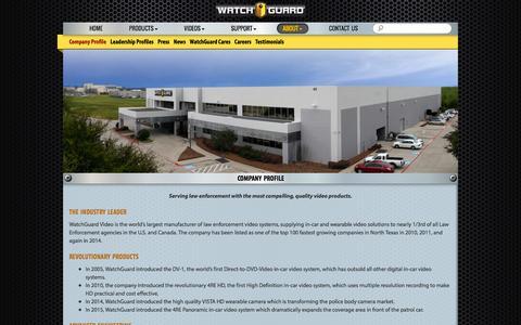 Screenshot of About Page watchguardvideo.com - Company Profile - WatchGuard Video - captured Feb. 27, 2016