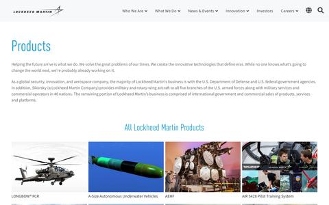 Screenshot of Products Page lockheedmartin.com - All Lockheed Martin Products | Lockheed Martin - captured Jan. 12, 2020