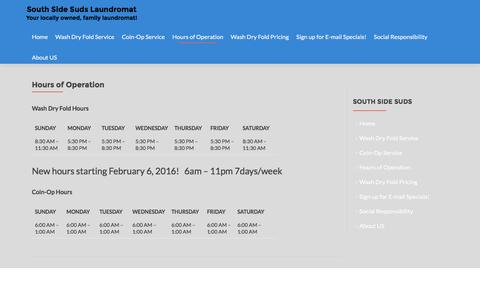 Screenshot of Hours Page southsidesuds.com - Hours of Operation | South Side Suds Laundromat - captured Feb. 24, 2016