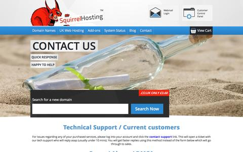 Screenshot of Contact Page squirrelhosting.co.uk - Contact Squirrel Hosting Ltd - captured Dec. 5, 2016