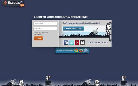Screenshot of Login Page sharetize.com - Sharetize - Publisher Login - captured Oct. 7, 2014