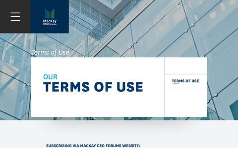 Screenshot of Terms Page mackayceoforums.com - Terms of Use - MacKay CEO Forums - captured May 25, 2017