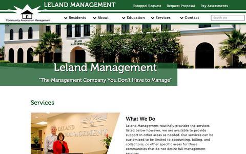 Screenshot of Services Page lelandmanagement.com - Leland Management - captured July 1, 2018