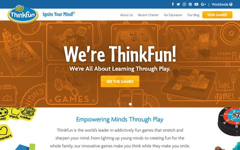 Screenshot of Home Page thinkfun.com - Home - Thinkfun - captured Sept. 30, 2018