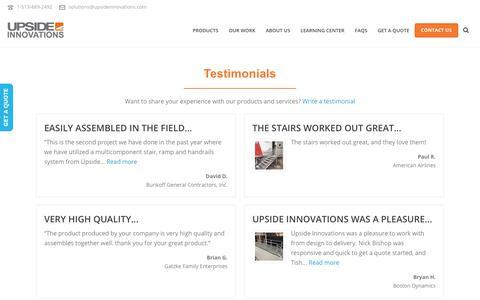 Screenshot of Testimonials Page upsideinnovations.com - Testimonials - Upside Innovations - captured June 18, 2019