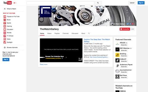 Screenshot of YouTube Page youtube.com - TheWatchGallery  - YouTube - captured Oct. 23, 2014