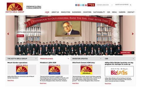 Screenshot of Home Page adityabirla.com - Aditya Birla Group - Global Conglomerate & Fortune 500 Company - captured Oct. 1, 2015