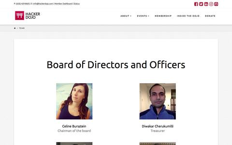 Screenshot of Team Page hackerdojo.com - Team - Hacker Dojo - captured July 15, 2018