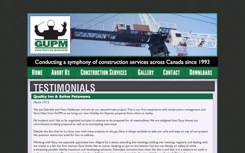 Screenshot of Testimonials Page gupm.ca - Client Testimonials | GUPM Construction Managers | Gary Ulias and Associates Inc. - captured Oct. 1, 2014
