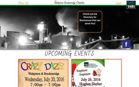 Screenshot of Home Page Menu Page wahpetonbreckenridgechamber.com - Home - captured June 18, 2016