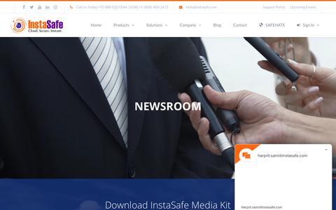 Screenshot of Press Page instasafe.com - Newsroom | InstaSafe® - Next-Gen Trusted Access - captured Sept. 19, 2018