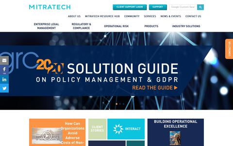 Screenshot of Home Page mitratech.com - Mitratech - Solutions for matter management, e-Billing & compliance - captured Jan. 12, 2018