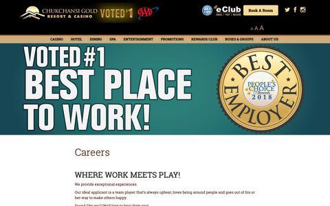 Screenshot of Jobs Page chukchansigold.com - Careers - Chukchansi Gold Resort & Casino - captured Sept. 28, 2018
