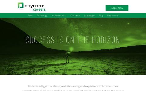 Screenshot of Jobs Page paycom.com - Internships in Software Development - Sales | Paycom - captured Dec. 28, 2018