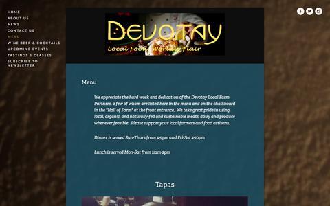 Screenshot of Menu Page devotay.net - Menu Ń Devotay - captured Jan. 7, 2016