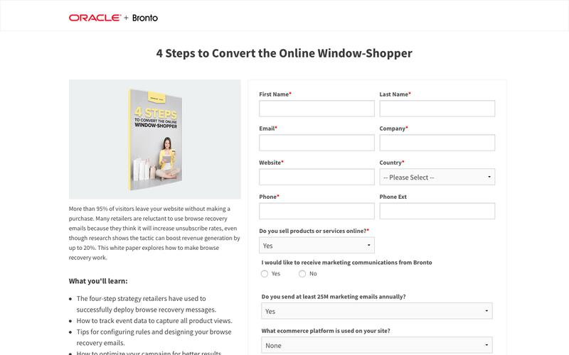 White Paper: 4 Steps to Convert the Online Window-Shopper | Bronto Software