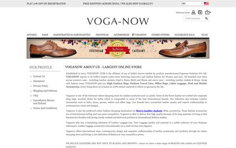 Screenshot of About Page voganow.com - Leather Manufacturers in India, Largest Online Store - captured Dec. 5, 2016