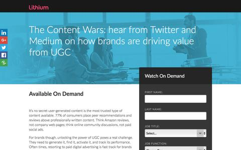 Screenshot of Landing Page lithium.com - The Content Wars: hear from Twitter and Medium on how brands are driving value from UGC - captured Dec. 24, 2016