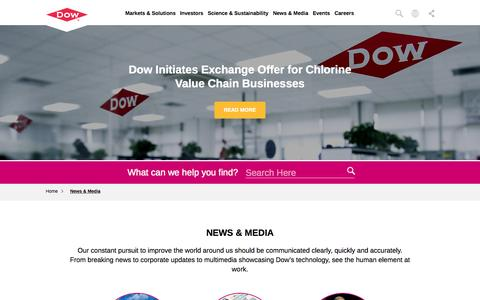 Screenshot of Press Page dow.com - News & Media | Dow - captured Sept. 30, 2015