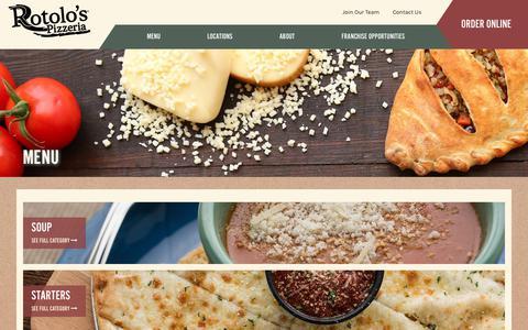 Screenshot of Menu Page rotolos.com - Rotolo's Menu   Italian Food Menu from Rotolo's Pizzeria - captured Oct. 23, 2017