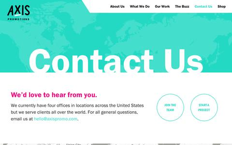 Screenshot of Contact Page axispromo.com - Contact Us - Axis Promotions - captured Oct. 4, 2018