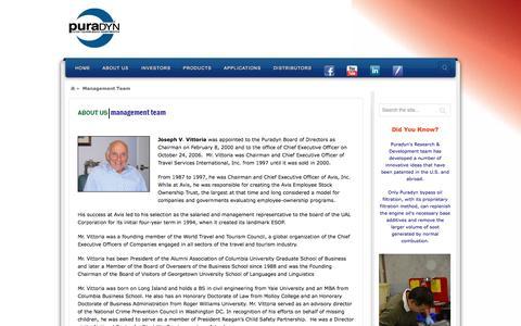 Screenshot of Team Page puradyn.com - Management Team - Puradyn Bypass Oil Filtration SystemPuradyn Bypass Oil Filtration System - captured Oct. 27, 2014
