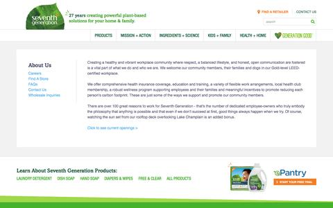Screenshot of Jobs Page seventhgeneration.com - Careers At Seventh Generation | Seventh Generation - captured Aug. 11, 2015