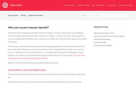 Screenshot of Support Page twilio.com - Why was my port request rejected? – Twilio Support - captured June 13, 2019