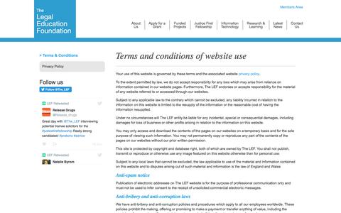 Terms and conditions of website use | The Legal Education Foundation