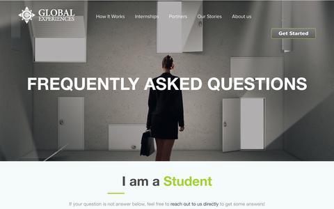 Screenshot of FAQ Page globalexperiences.com - Foreign Job Opportunities | Intern Questions | Internship Overseas - captured Aug. 5, 2017
