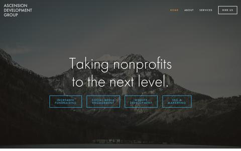 Screenshot of Home Page ascensiondevgroup.com - Web Design + Marketing for Nonprofits in Minneapolis MN - captured Feb. 6, 2016