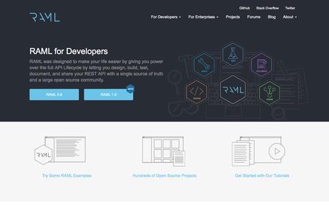 Screenshot of Developers Page raml.org - For Developers | RAML - captured Jan. 23, 2016