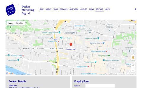 Screenshot of Contact Page reflexblue.co.uk - Contact | reflexblue - captured Dec. 10, 2018
