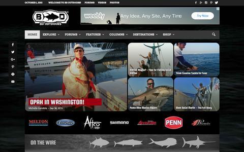 Screenshot of Home Page bdoutdoors.com - Fishing Reports | Deep Sea Fishing | Hunting | Fishing Forums | BD Outdoors - captured Oct. 1, 2015