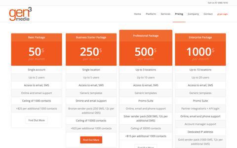 Screenshot of Pricing Page gen3media.com - Pricing – Gen3Media | Retention Marketing Automation - captured Nov. 23, 2017