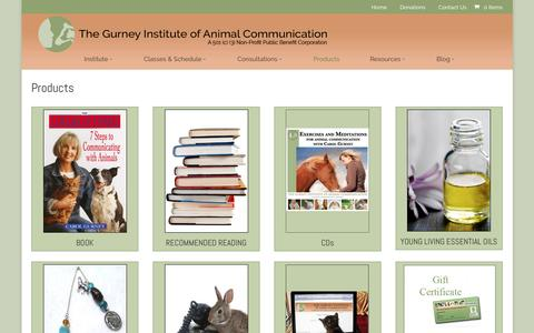 Screenshot of Products Page gurneyinstitute.com - Products | Gurney Institute of Animal Communication - captured April 9, 2017