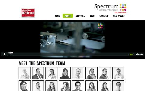 Screenshot of About Page spectrumdubai.com - About | Spectrum Digital Print, About Dubai, Print Services Dubai, Business Cards Dubai - captured Oct. 7, 2014