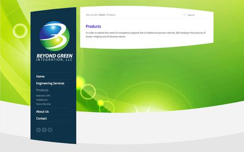 Screenshot of Products Page beyondgreenintegration.com - Products - Beyond Green Integration - captured Oct. 29, 2014