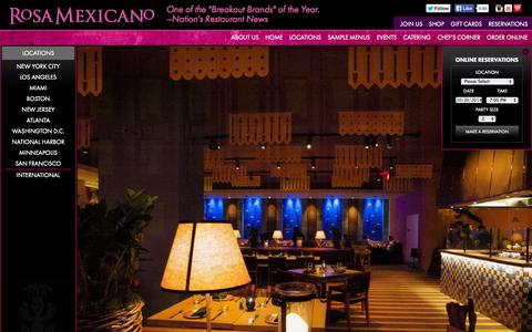 Screenshot of Locations Page rosamexicano.com - Rosa Mexicano | Fine Dining Restaurant | Best Mexican Food - captured Oct. 30, 2014