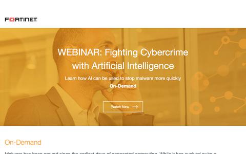 Screenshot of Landing Page fortinet.com - Fortinet - captured Sept. 21, 2018