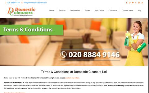 Screenshot of Terms Page domestic-cleaners.biz - Terms & Conditions - Domestic Cleaners Ltd - captured Oct. 9, 2018