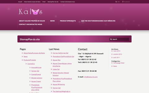 Screenshot of Site Map Page kalos-int.com - <!--:en-->Sitemap<!--:--><!--:fr-->Plan du site<!--:--> - captured Oct. 16, 2017