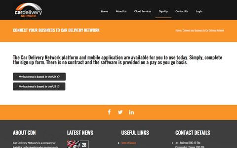 Screenshot of Signup Page Trial Page cardeliverynetwork.com - Connect your business to Car Delivery Network | Car Delivery Network - captured Jan. 25, 2016